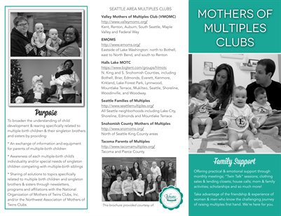 Brochure: Mothers of Multiples Clubs (Seattle)