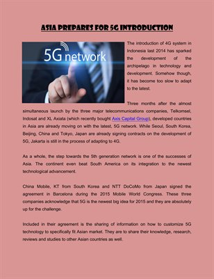 Asia Prepares for 5G Introduction
