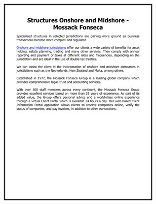 Structures Onshore and Midshore - Mossack Fonseca