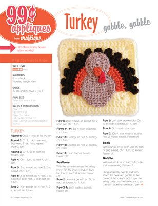 Craftique Crochet - Turkey Applique