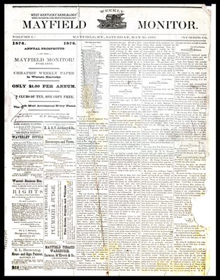 1876 MAYFIELD MONITOR NEWSPAPERS, GRAVES COUNTY, KENTUCKY