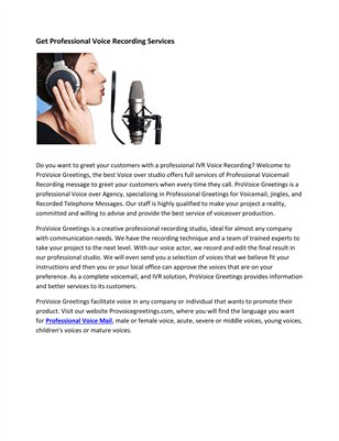 Get Professional Voice Recording Services