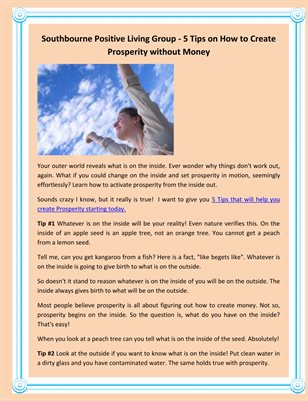 Southbourne Positive Living Group - 5 Tips on How to Create Prosperity without Money