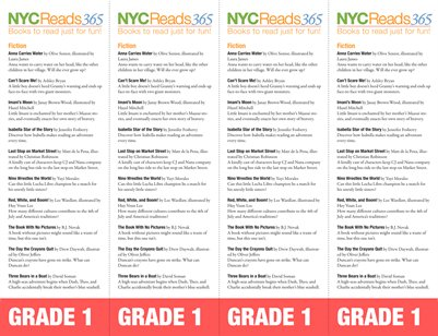 NYC Reads 365 Reading List Bookmark - Grade 1