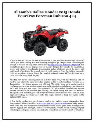 Al Lamb's Dallas Honda: 2015 Honda FourTrax Foreman Rubicon 4×4