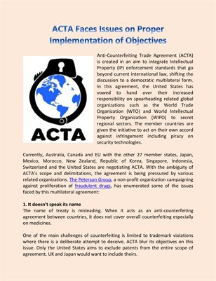 ACTA Faces Issues on Proper Implementation of Objectives