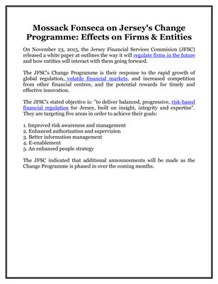 Mossack Fonseca on Jersey's Change Programme: Effects on Firms & Entities
