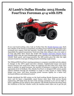 Al Lamb's Dallas Honda: 2015 Honda FourTrax Foreman 4×4 with EPS