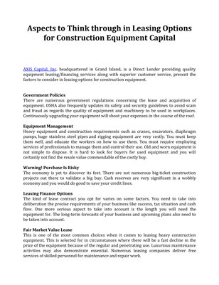 Aspects to Think through in Leasing Options for Construction Equipment Capital