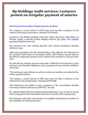 Bp Holdings Audit services: Lecturers protest on irregular payment of salaries