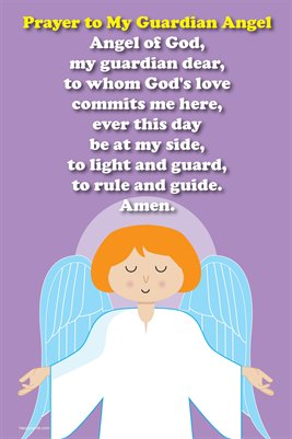 Happy Saints Guardian Angel Prayer Poster