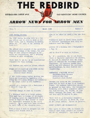 "March 1958, ""The Red Bird"", Arrow news for Arrow Men"