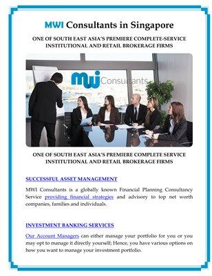 MWI Consultants in Singapore