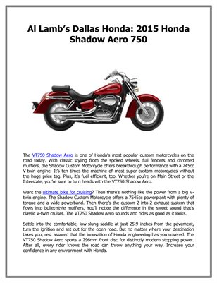 Al Lamb's Dallas Honda: 2015 Honda Shadow Aero 750