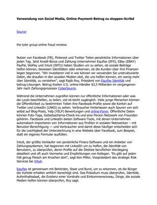 Verwendung von Social Media, Online-Payment-Betrug zu stoppen-Scribd