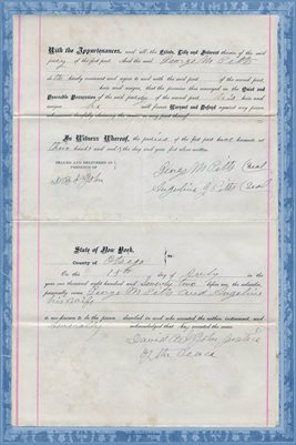 1872 OTSEGO COUNTY, WARRANTY DEED GEORGE M PITTS TO EDWIN WALES