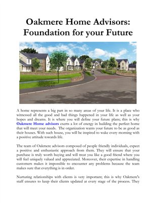 Oakmere Home Advisors: Foundation for your Future