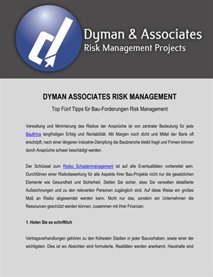 Dyman Associates Risk Management: Top Fünf Tipps für Bau-Forderungen Risk Management