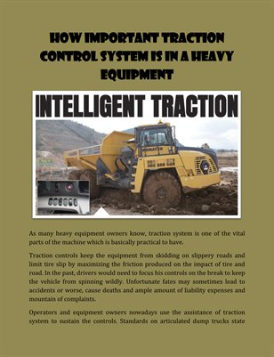 How Important Traction Control System is in a Heavy Equipment