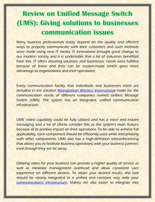 Review on Unified Message Switch (UMS): Giving solutions to businesses communication issues