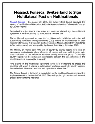 Mossack Fonseca: Switzerland to Sign Multilateral Pact on Multinationals