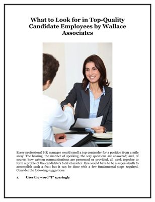 What to Look for in Top-Quality Candidate Employees by Wallace Associates