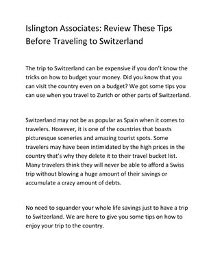 Islington Associates: Review These Tips Before Traveling to Switzerland
