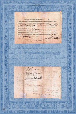 1827 Marriage Certificate, Jonathan Thomas & Susannah Howell, Maury County, Tennessee