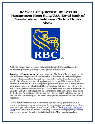 The Woo Group Review RBC Wealth Management Hong Kong USA: Royal Bank of Canada tuin onthuld voor Chelsea Flower Show