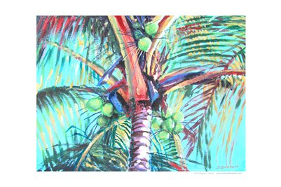 TROPICAL FLORIDA ART - VINTAGE COCONUT PALM 18