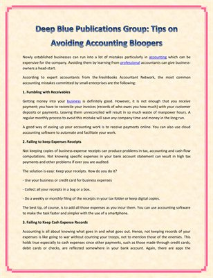 Deep Blue Publications Group: Tips on Avoiding Accounting Bloopers