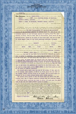 1927, Short Country Lease, Clarinda Dunham & Elmer D. Glenn, Mackinaw, Tazewell County, Illinois