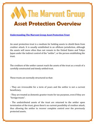The Marvont Group Asset Protection Overview