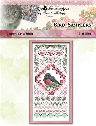 Bird Samplers Pink Bird Counted Cross Stitch Pattern
