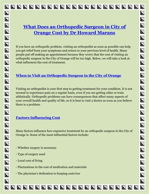 What Does an Orthopedic Surgeon in City of Orange Cost by Dr Howard Marans