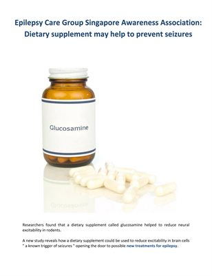 Epilepsy Care Group Singapore Awareness Association: Dietary supplement may help to prevent seizures