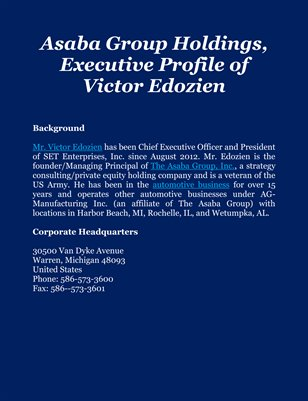 Asaba Group Holdings, Executive Profile of Victor Edozien