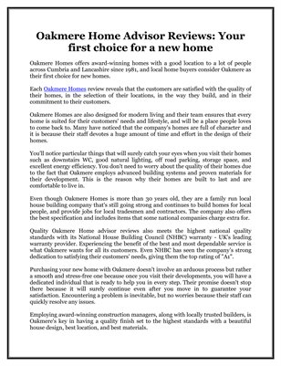 Oakmere Home Advisor Reviews: Your first choice for a new home