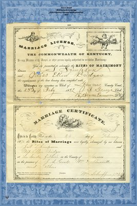 1892 Marriage License & Certificate for Jas. T. Simpson & Miss Ellen Bridges, Graves County, Kentucky
