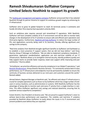 Ramesh Shivakumaran Gulftainer Company Limited Selects Nexthink to support its growth