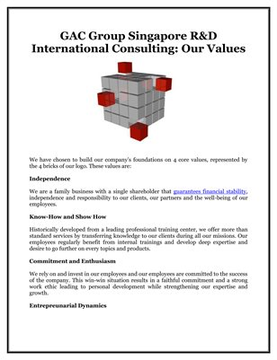 GAC Group Singapore R&D International Consulting: Our Values