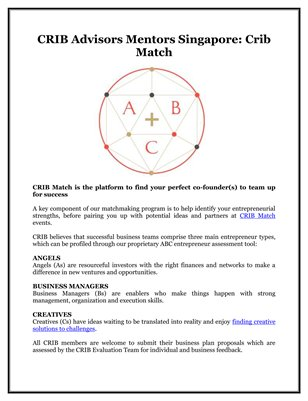 CRIB Advisors Mentors Singapore: Crib Match