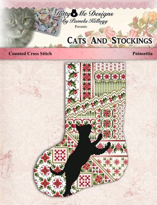 Cats And Stockings Poinsettia Cross Stitch Pattern
