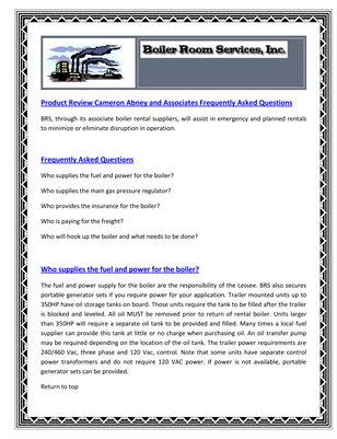 Product Review Cameron Abney and Associates Frequently Asked Questions