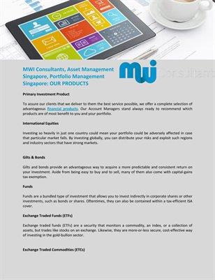 MWI Consultants, Asset Management Singapore, Portfolio Management Singapore: OUR PRODUCTS
