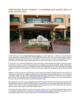 Wild Orchid Resort Angeles: A surprising and perfect place to relax and have fun