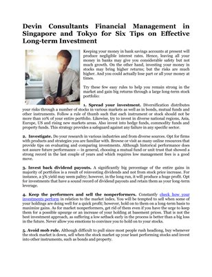 Devin Consultants Financial Management in Singapore and Tokyo for Six Tips on Effective Long-term Investment