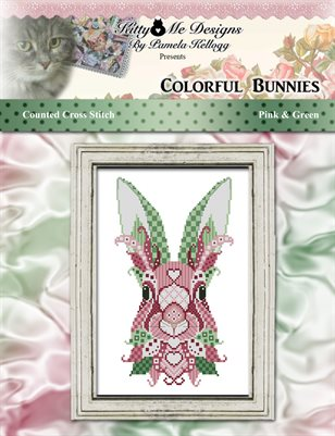 Colorful Bunnies Pink and Green Counted Cross Stitch Pattern