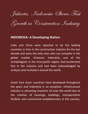 Jakarta, Indonesia Shows Fast Growth in Construction Industry