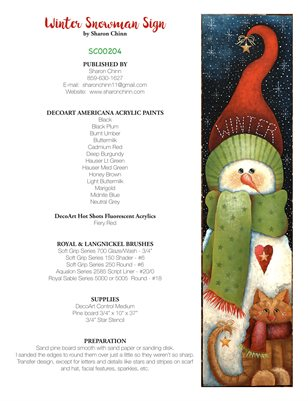 Winter Snowman Sign Painting Pattern Booklet - Sharon Chinn